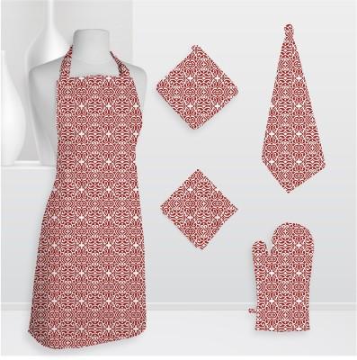 Smart Home Textile Smt Kls Cotton Kitchen Linen Set Red, Pack Of 5