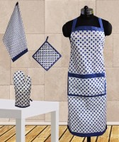 Dekor World Polka Dot Apron Kitchen Linen Set (Pack Of 4)