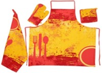 Moohaambikahome Red, Yellow Cotton Kitchen Linen Set Pack Of 4