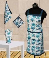Dekor World Blue Floral Apron Combo Kitchen Linen Set (Pack Of 4)