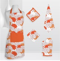 Smart Home Textile Smt Kls Cotton Kitchen Linen Set Orange, Pack Of 5