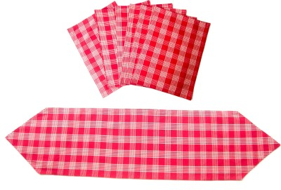 Homeblendz Dining Cotton Kitchen Linen Set Red, White, Pack Of 7