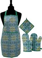 MISONA WORLD Green, Yellow Cotton Kitchen Linen Set Pack Of 4