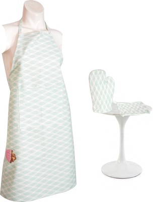 Flazee Home Trends Self Design Cotton Kitchen Linen Set Green, Pack Of 3