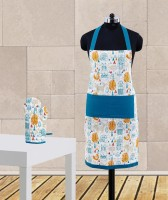 Dekor World Blue Cotton Kitchen Linen Set Pack Of 2