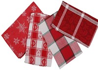 London Lady Red, White Cotton Kitchen Linen Set Pack Of 4