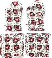 Barkat Beige, Red, Multicolor Cotton Kitchen Linen Set Pack Of 4