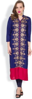 Vishudh Printed Women's Straight Kurta Dark Blue, Red