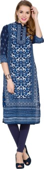 Vishudh Solid Women's Straight Kurta Dark Blue, Blue