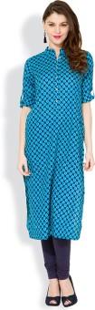 Vishudh Printed Women's Straight Kurta Blue