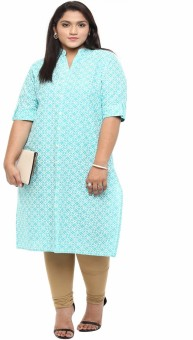 Kira Plus Printed Women's A-line Kurta Light Blue