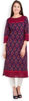 Vishudh Printed Women's Straight Kurta Dark Blue, Red