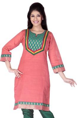 Lifestyle Lifestyle Retail Self Design Women's A-Line Kurta (Orange)