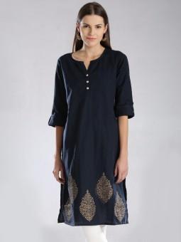 Anouk Printed Women's Straight Kurta Dark Blue