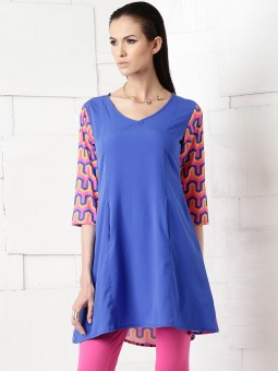 Masaba For Anouk Printed Women's A-line Kurta Blue