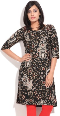 W W Printed Women's Kurta (Black)