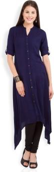Vishudh Solid Women's Straight Kurta Dark Blue