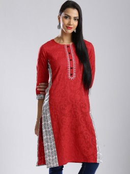 Anouk Self Design Women's A-line Kurta Red