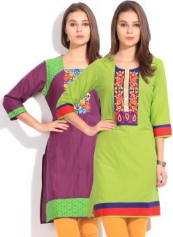 Anksh Solid Women's Kurta Pack Of 2