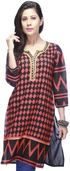 Stop To Start Geometric Print Women's Straight Kurta Geometric Print Women's Straight Kurta