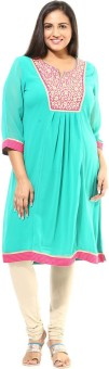 Alto Moda By Pantaloons Solid Women's Flared Kurta