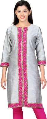 Lifestyle Lifestyle Retail Solid, Self Design Women's Straight Kurta (Grey)