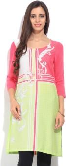 W Printed Women's Straight Kurtas White, Green, Pink