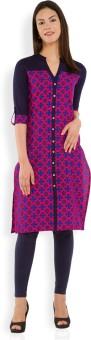 Vishudh Printed Women's Straight Kurta Dark Blue, Pink