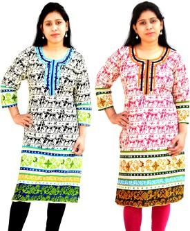 Aarti Collections Animal Print Women's Straight Kurta