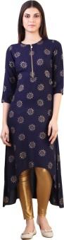 Libas Printed Women's A-line Kurta Blue