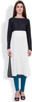 Vishudh Solid Women's Straight Kurta White, Black