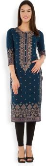Vishudh Printed Women's Straight Kurta Dark Blue, Gold
