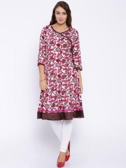 Anouk Printed Women's A-line Kurta White, Pink