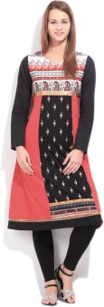 IMARA Printed Women's A-line Kurta White, Black, Red