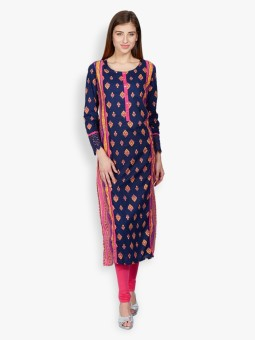 Vishudh Printed Women's Straight Kurta Dark Blue, Yellow