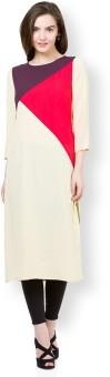 Vishudh Solid Women's Straight Kurta Beige, Red