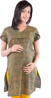 Morph Maternity Printed Women's Straight Kurta Green