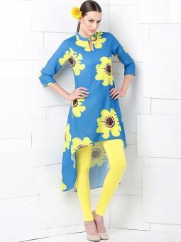 Anouk Floral Print Women's A-line Kurta Blue