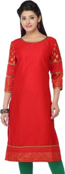 Stop To Start By Shoppers Stop Self Design, Solid Women's Straight Kurta