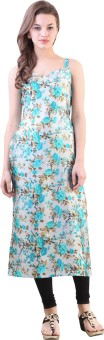 Libas Floral Print Women's Straight Kurta Grey
