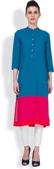 Vishudh Solid Women's Straight Kurta Dark Blue, Red