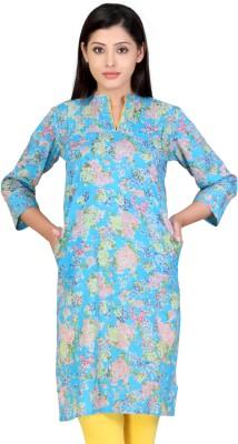 Lifestyle Lifestyle Retail Floral Print Women's Straight Kurta (Blue)