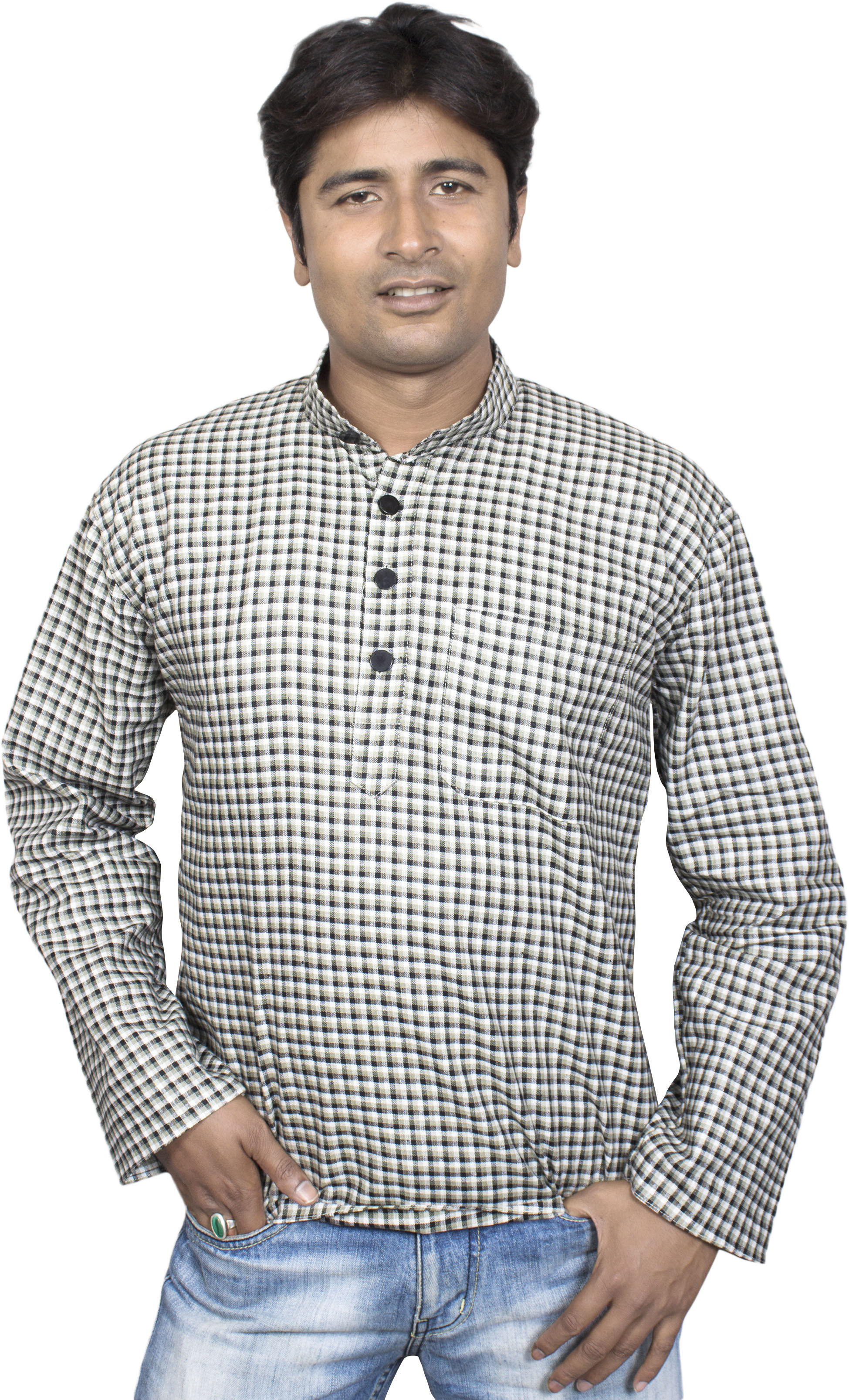 Shahana Checkered Men's A-line Kurta