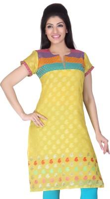 Lifestyle Lifestyle Retail Printed Women's Straight Kurta (Yellow)