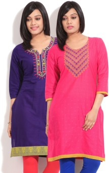 Sneha Solid Women's Straight Kurta Pack Of Two Kurtas
