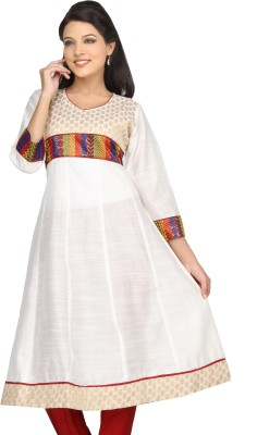 Lifestyle Lifestyle Retail Printed Women's Anarkali Kurta (White)