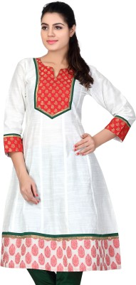 Lifestyle Lifestyle Retail Self Design Women's Anarkali Kurta (White)