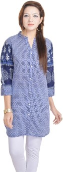 Adesa Casual Printed Women's Kurti Blue