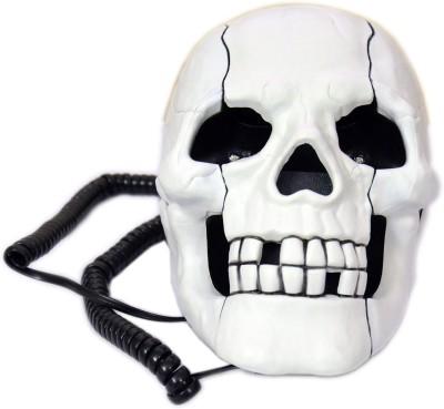 Tootpado Skull Shape Wired with Led Eyes Corded Landline Phone (White)