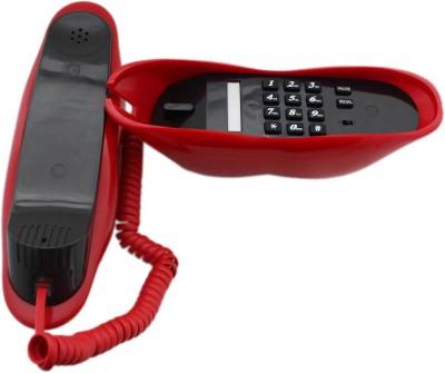 Tootpado Lips Shaped Corded Landline Telephone - Novelty Home Decor Creative Fixed Line Phone Corded Landline Phone (Red)